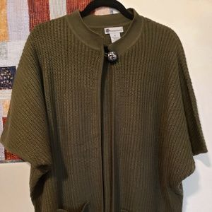 olive green sweater coat vest thing